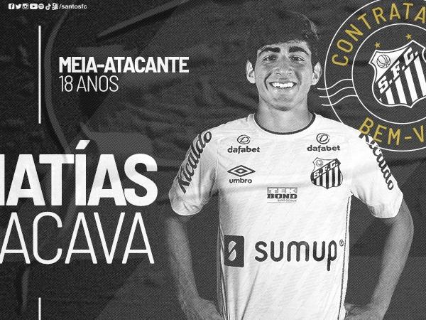 Matías Lacava, de 18 anos, assinou com o Peixe até o final de 2022. Foto: Divulgação