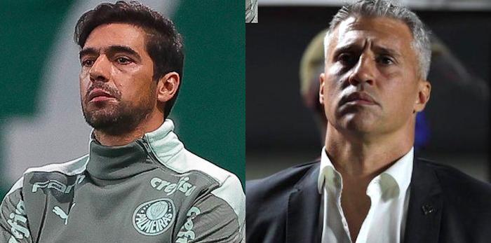 No Choque-Rei, Abel colocou Crespo no bolso. Fotos: Rubens Chiri/SPFC e Cesar Greco/Palmeiras