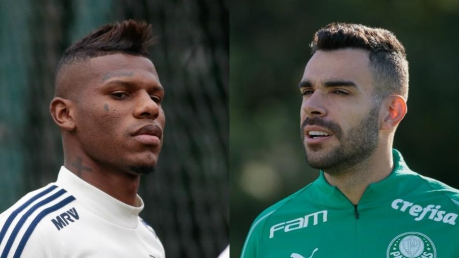 Arboleda, zagueiro do São Paulo, e Bruno Henrique, volante do Palmeiras