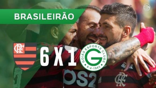 Apensa o Flamengo fez chover gols na goleada de 6 a 1 em cima do Goiás