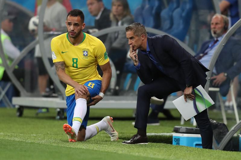 Renato Augusto e técnico Sylvinho estiveram com a seleção brasileira na Copa do Mundo de 2018. Foto: Lucas Figueiredo/CBF