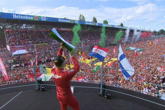 Monegasco comemora o triunfo no GP da Itália. Foto: Reprodução