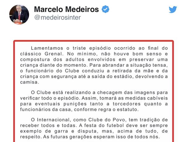 Declaração de Marcelo Medeiros merece o mesmo repúdio que a atitude do grupo de torcedores