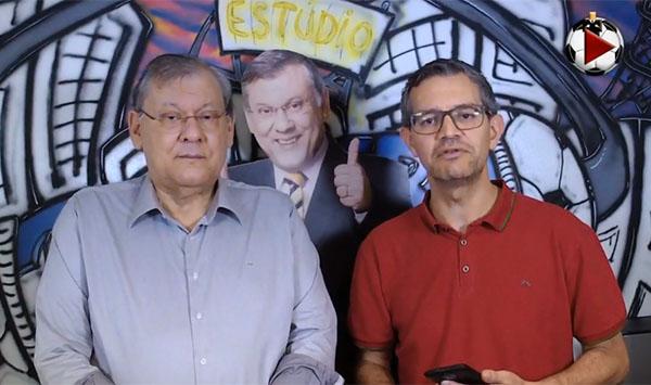 O apresentador e o jornalista Frank Fortes na Live do Terceiro Tempo. Foto: Reprodução