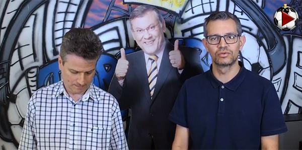 Marcos Micheletti e Frank Fortes, durante o programa. Foto: Reprodução