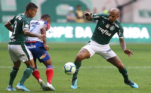 Felipe Melo e Dudu no jogo contra o Bahia. Foto: Flickr/Palmeiras