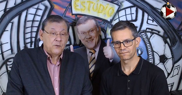 Milton Neves (em dobro) e Frank Fortes na Live do Terceiro Tempo. Foto: Reprodução
