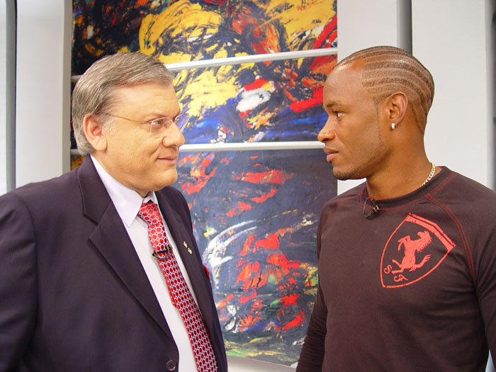 Milton Neves e Fabão, no intervalo do Terceiro Tempo, ainda na Record