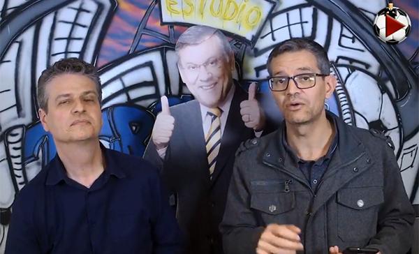 Marcos Micheletti e Frank Fortes nos estúdios do Terceiro Tempo. Foto: Reprodução