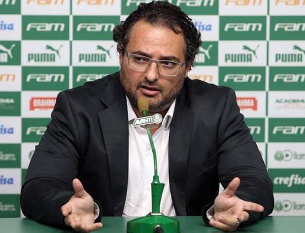 Sobrou também para o presidente Maurício Galiotte. Foto: Cesar Greco/Palmeiras