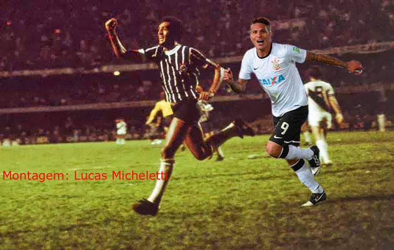 Montagem com Basílio e Guerrero nos momentos marcantes de 1977 e 2012