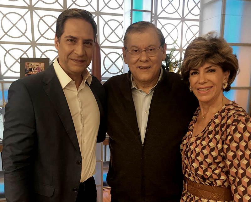 Luis Ernesto Lacombe e Silvia Poppovic receberam o jornalista no programa da Band. Foto: Divulgação