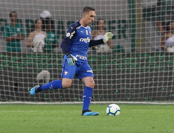 Fernando Prass tem contrato com o Palmeiras até o fim desta temporada. Foto: Cesar Greco/Agência Palmeiras