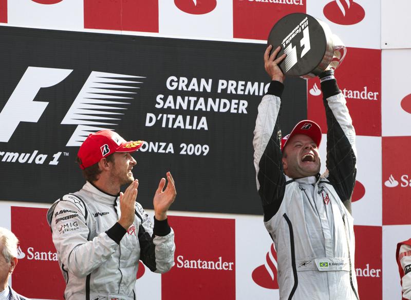 Rubens Barrichello, então piloto da Brawn-Mercedes, ganhou o GP da Itália, em Monza. Foto: Divulgação