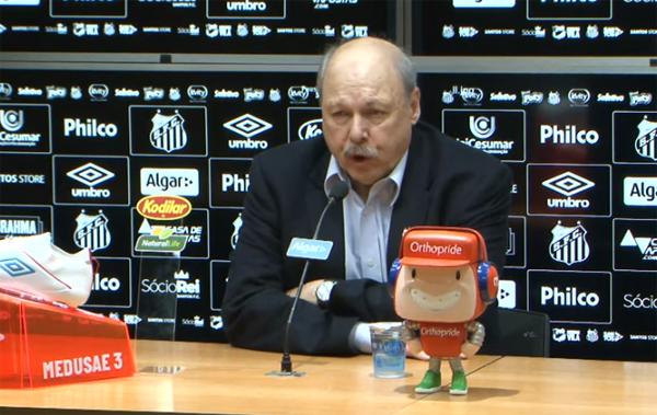 Presidente do clube disse não haver receio em perdas no elenco. Foto: Reprodução/Santos Futebol Clube/YouTube