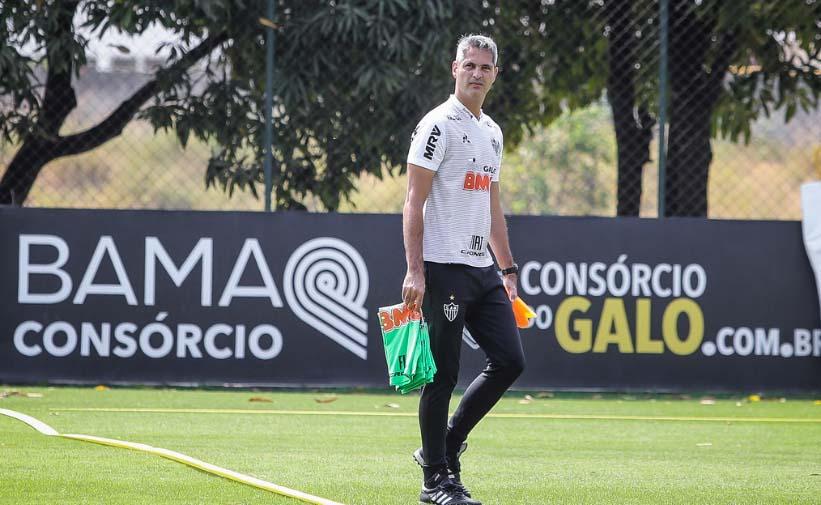 Técnico Rodrigo Santana comandou o último treino antes do jogo na Cidade do Galo. Foto: Agência Galo/Clube Atlético Mineiro