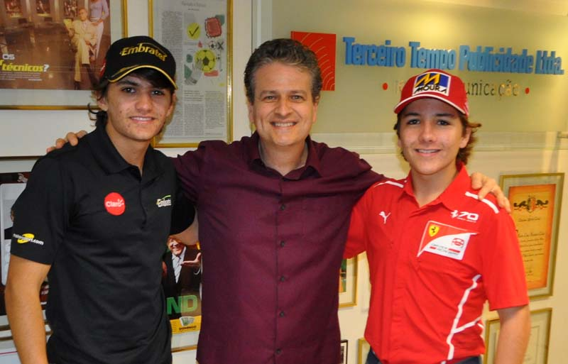 Os irmãos, netos de Emerson Fittipaldi, estiveram na redação do Portal Terceiro Tempo. Foto: Túlio Nassif/Portal TT
