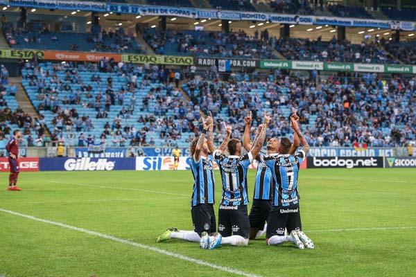 Equipe gaúcha fez um primeiro tempo arrasador em Porto Alegre. Foto: Lucas Uebel/Grêmio FBPA