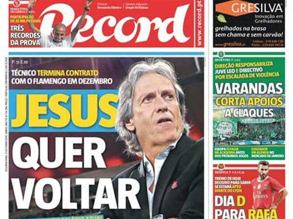 Capa do Record afirma que o treinador Flamengo pretende voltar ao seu país (Foto: Divulgação)
