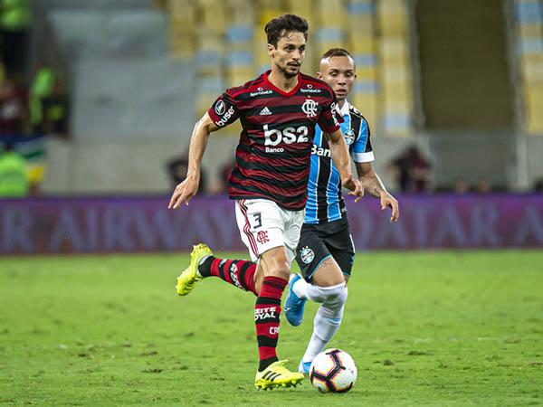 Rodrigo Caio e Everton Cebolinha foram analisados por representante do Barça no Maracanã (Foto: Alexandre Vidal, Marcelo Cortes & Paula Reis / Flamengo)