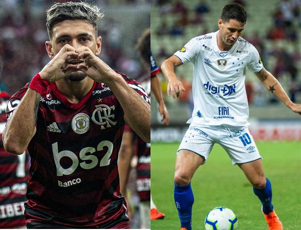 Confira os números. Fotos: Alexandre Vidal/Flamengo e Divulgação/Cruzeiro