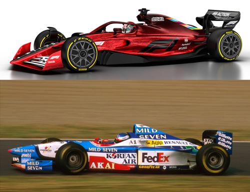 Modelo de 2021 terá desempenho parecido à Benetton de Alesi em 1997. Fotos: Twitter (FIA) e Divulgação