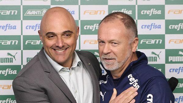 Maurício Galiotte e Mano Menezes, na apresentação do treinador. Foto: César Greco/Ag. Palmeiras
