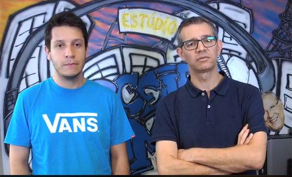 Lucas Reis e Frank Fortes durante a transmissão desta quinta-feira. Foto: Reprodução/Facebook