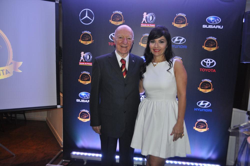 Claudio e sua filha Claudia Carsughi, que criou e organizou o evento realizado em São Paulo