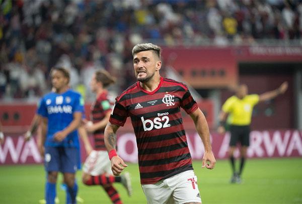 Arrascaeta fez o gol de empate do Flamengo. Foto: Alexandre Vidal/Flamengo