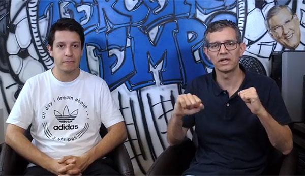 Lucas Reis e Frank Fortes falando de Libertadores. Foto: Reprodução/Facebook