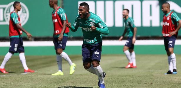 Borja comemora gol durante treino no Palmeiras. Foto: Cesar Greco/Ag. Palmeiras/Divulgação