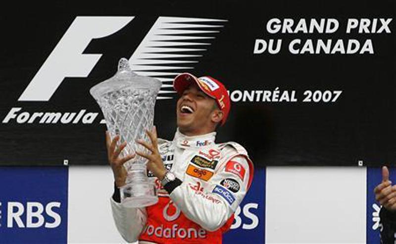 Então na McLaren, piloto subiu ao alto do pódio em Montreal. Foto: Reprodução