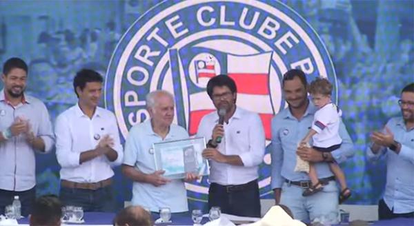 Evaristo participou do evento de inauguração da nova estrutura do clube. Foto: Reprodução