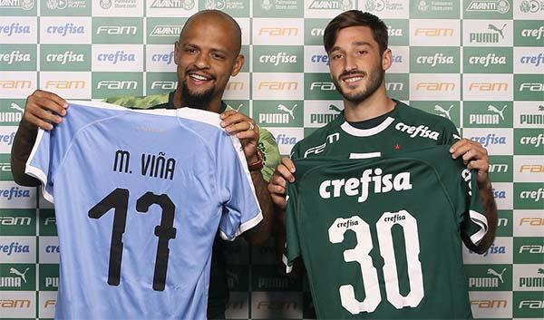 Zagueiro e lateral trocaram camisas na chegada do gringo ao Verdão. Foto: Cesar Greco/Ag Palmeiras