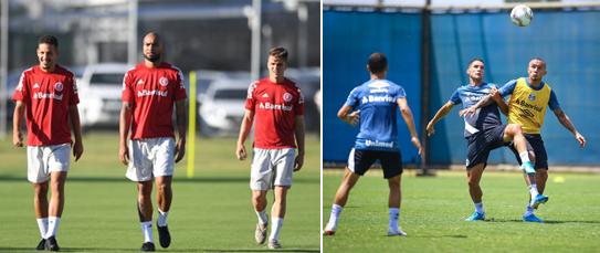 Gre-Nal definirá um dos finalistas do primeiro turno do certame. Fotos: Ricardo Duarte (Inter) e Lucas Uebel (Grêmio)