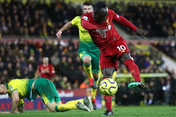 Mané fez o gol do Liverpool contra o Norwich City. Foto: Reprodução/Twitter LFC