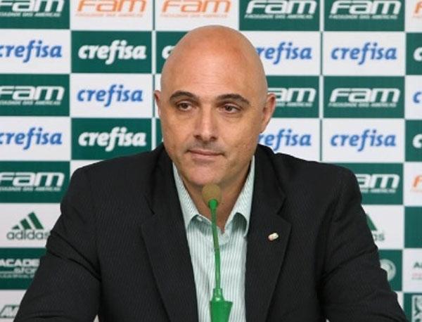 Presidente do Verdão destacou que o clube segue aguardando o desenvolvimento da novela pelo atacante. Foto: Cesar Greco/Ag. Palmeiras