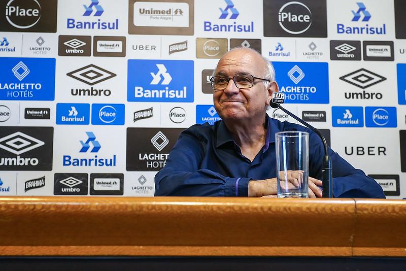 Dirigente tricolor está em bos estado de saúde e ficará isolado por oito dias. Foto: Lucas Uebel/Grêmio FBPA