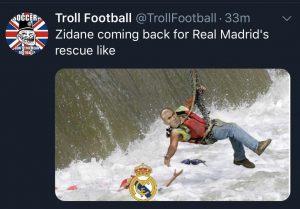 A imagem bem humorada de Zidane voltando para resgatar o Madrid