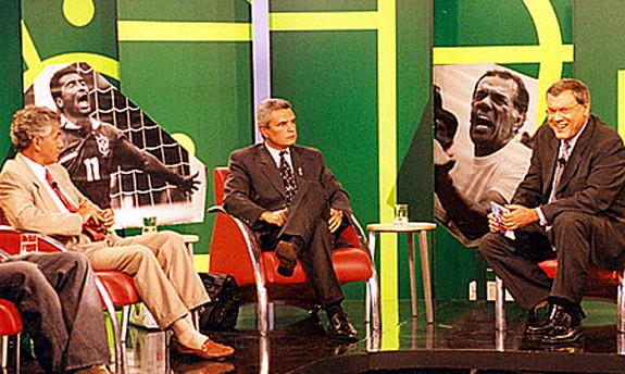 Clodoaldo, Márcio Rezende de Freitas e Milton Neves, em 2002, quando o então árbitro pediu desculpas pelo erro de 1995