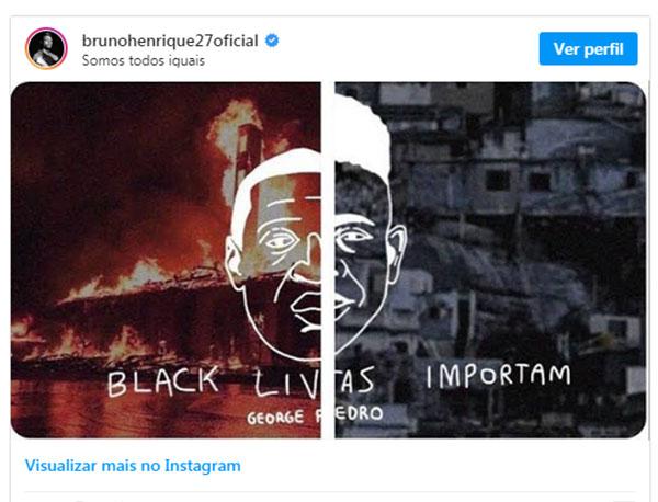 Bruno Henrique usou o Instagram para protestar