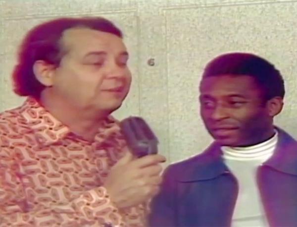 Peirão de Castro e Pelé, em 1974