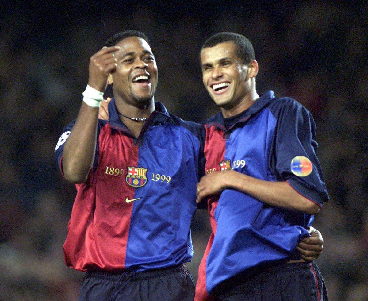Kluivert e Rivaldo em 1999. Foto: Divulgação