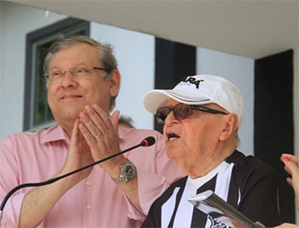 Milton Neves e Luis Campos em 2014, no dia da inauguração do CT do Luis Campos