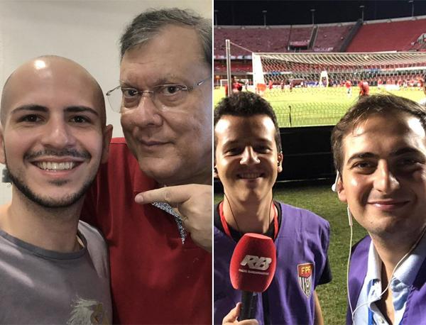À esquerda, Guilherme Cimatti e Milton Neves; à direita, Vinícius Bueno e João Paulo Cappellanes