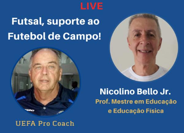Nicolino Bello Jr., mestre em educação e educação física, na live de Marcos Falopa