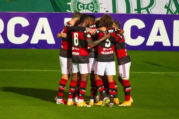 Rubro-Negro derrotou o Coritiba na capital paranaense. Foto: Alexandre Vidal/Flamengo