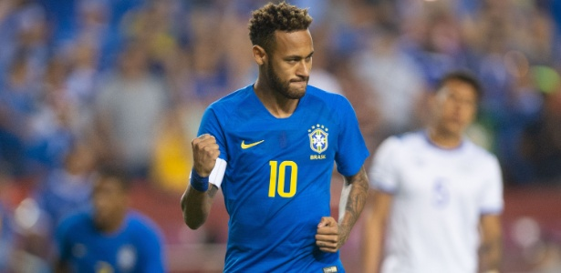 Neymar atuou durante os 90min na goleada sobre El Salvador. Foto: Pedro Martins / MoWA Press