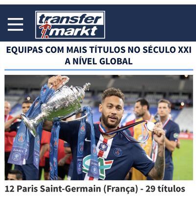 O Transfermarkt coloca o PSG de Neymar apenas em 12º lugar